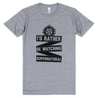 Id Rather Be Watching Supernatural-Unisex Athletic Grey T-Shirt