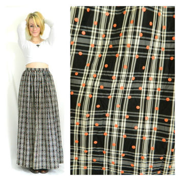 60s vintage maxi skirt / High waisted / Plaid and polka dot long 1960s / Red black and white / Full skirt / Size large/medium