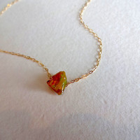 Natural Rough Opal Pendant and 14k Gold Fill Necklace
