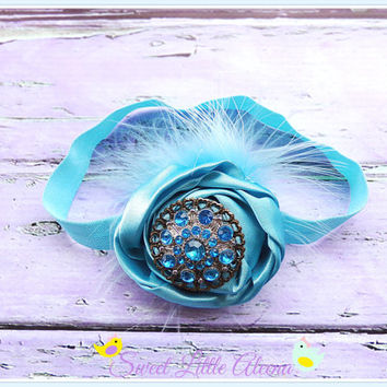 Blue Baby Headband, Infant Feather Headband, Aqua Newborn Photo Prop, Toddler Girl Hair Clip, Rhinestone Hair Accessories, Satin Flower Bows