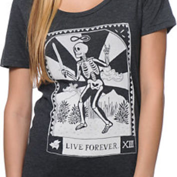 Glamour Kills Live Forever Tarot Charcoal Scoop Neck Tee Shirt