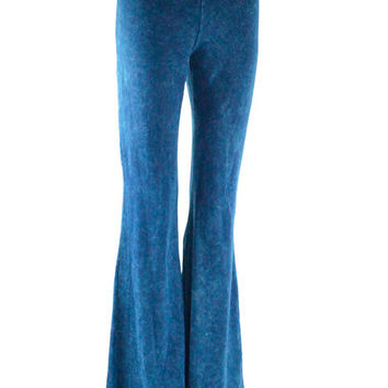 Dejavu Denim Look Mineral Washed Bell Bottom Pants (Denim Blue)