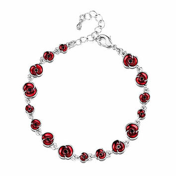 2016 Newest The Royal British Legion Fashion Zinc Alloy Rhodium Silver Red Poppy Bracelet For Remembrance Day Gift