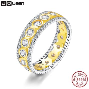 JQUEEN 4.78g Twisted Ring Silver 925 Jewelry Wedding Band 18k Gold Plated s925 Infinity Ring Jewelry with Jewelry BOX For Women