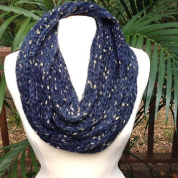 Navy Blue Ombre Gold Metallic Crochet Infinity Scarf, soft blue tone crochet neck warmer scarf, navy crochet infinity scarf