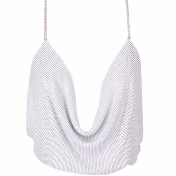 'Camille' Mesh Sequin Top - White