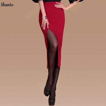 ICIKF4S Shanto Office Pencil Skirts Womens wine red black Fashion Midi Long  Formal Work Split Skirts Front Slit Female Faldas 8214BW