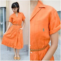 1970 Vintage Dress/ RALPH LAUREN Orange Shirtdress/ Small Dress/ XS Dress/ Collar Dres