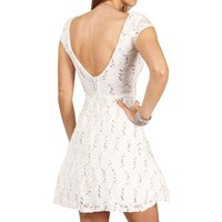 Jazzy-Ivory Lace And Sequin Prom Dress