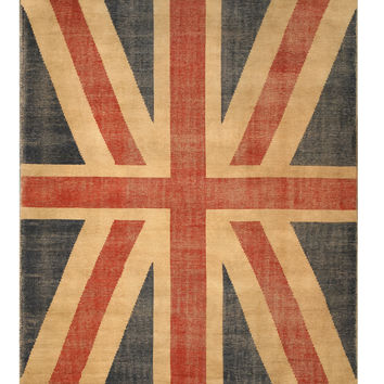 Red Casual Union Jack British Flag Rug