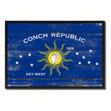 Conch Republic Key West City Florida State Flag Vintage Canvas Print with Black Picture Frame Home Decor Wall Art Collectible Decoration Artwork Gifts