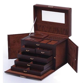 5-Drawer Brown Leather Jewelry Box Organizer Storage Travel Case