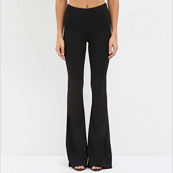 Loose Black Casual Brief Bell Bottom Pant LAVELIQ