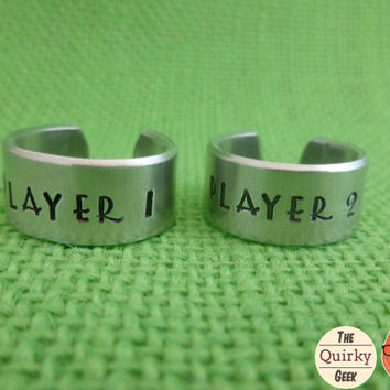 Personalized Hand Stamped Jewelry - Player 1 - Player 2 - Matching Set  - Matching Hand Stamped Adjustable Rings