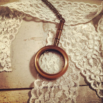 1 Pc Vintage Style Nautical Magnifying Glass Pendant Charm Necklace Really WORKS Nautical DARK Antique Bronze