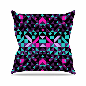 "Vasare Nar ""Geometric Galaxy"" Magenta Digital Outdoor Throw Pillow"