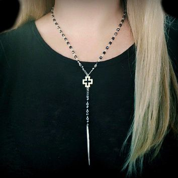Beaded Rosary Silver Spike Cross Y Necklace