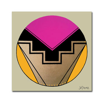 Original abstract painting. Geometric canvas art with pink, magenta, yellow, gold, and black. Circle painting