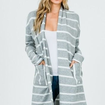 Cozy Nights Gray And White Striped Cardigan