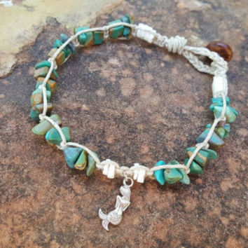 Hemp Anklet, Womens Mermaid Anklet, Puka Shells, Blue Jasper, Beach Jewelry, Mermaid Jewelry, Gift for Her, Handmade Anklet, Summer Jewelry