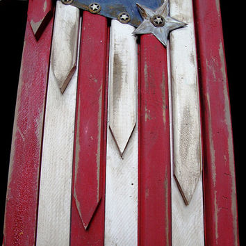 American Hero/American Flag Angel Wings Custom Made in the USA Distressed Paint and Rust Finish