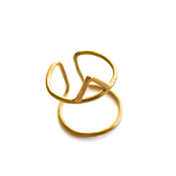 Triangle Cage Ring Brass