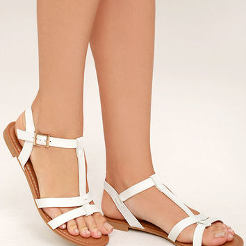 def486830 Nia White Flat Sandals from Lulu s