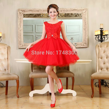 Tulle Lace Short Prom Dresses Evening Dress Girl Lovely Club Prom Party Gown Bow Red Champagne Skin Pink Vestidos De Noche 2016