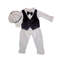 Babyboy baptism set made of all organic materials, christening set, festive set, Boy Blessing Outfit with Hat, first outfit