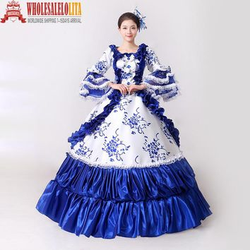 Brand New Blue Lace Printed Marie Antoinette Masquerade Ball Gown Medieval Southern Rococo Belle Dress Theatrical Clothing