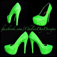Green Glow Glitter High Heels, Neon Lime Green Platform Prom Pumps, Glow in the Dark