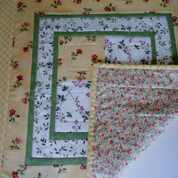 Cottage Chic Pastel Quilted Topper Table Runner Sunshine Yellow and Green