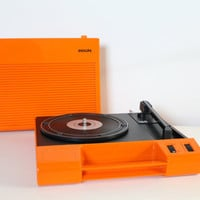 1970s Vintage Seventies Orange PHILIPS AF 180 portable triangular turntable record player