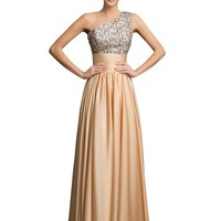 Grace Karin® Women's Elegant One shoulder Sequins Adorned Prom Dresses CL7529