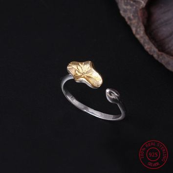 NEW 925 Sterling Silver Ring For Women Joint Ring Simple Vintage Lotus Leaf & Bud Open Ring Female Engagement Fine Jewelry YR6