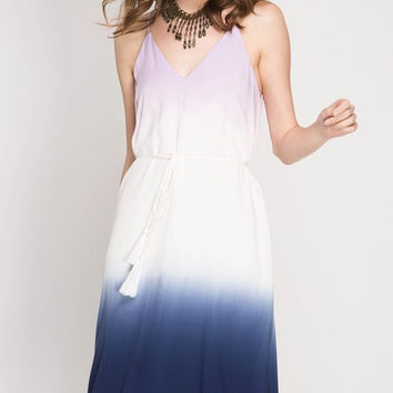 Ombre Dip Dye Dress - Lilac & Navy