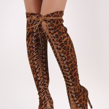 Leopard Suede Peep Toe Lace Up Stiletto Over-The-Knee Boots
