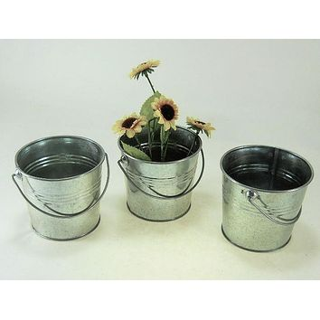 "3 pc set 5 1/2"" Tall 2 Qt Galvanized Pail/bucket with ridges"