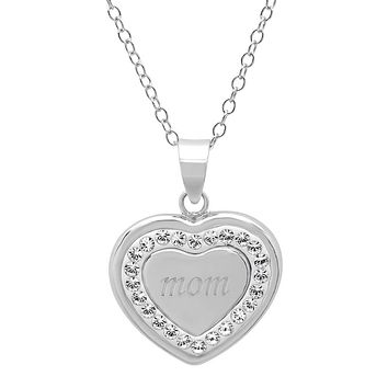 Sterling Silver Mom in Heart Pendant with Swarovski Crystals