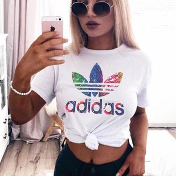 """ADIDAS""Women Fashion Print Logo Monogram Casual T-Shirt Top Tee F"