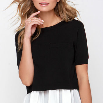 Ask for Amore Ivory and Black Layered Top