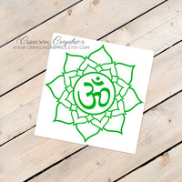 Lotus Flower, OHM, Namaste, Buddhism, Esoteric, Decal, Sticker, Window, Car, Laptop, Cell Phone, Mirror, Computer, Made to Order