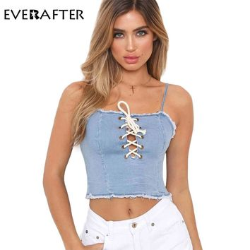 EVERAFTER Off Shoulder Tops for Women Summer Hollow Out Camis shirt solid Backless lace up sleeveless halter Crop Top Tees