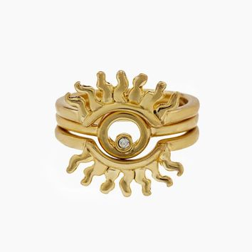 Sunburst Ring Set - Gold