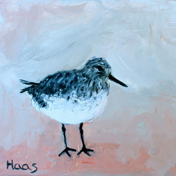 Shorebird - Original Oil Painting - Honeyscolors - Beach - Home Decor - Bird