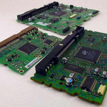 Green Printed Computer Circuit Boards Lot of Three