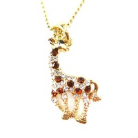 Giraffe Animal Shaped Pendant Necklace in Gold with Rhinestones Animal Print