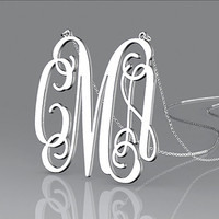 """Monogram necklace,1"""" 1.25"""" 1.5'' inch Personalized Monogram,925 Sterling silver, monogram necklace,bridesmaids gift,wedding gifts"""
