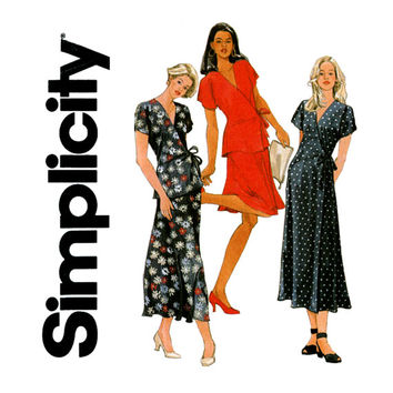 1990s Wrap Dress Wrap Top and Skirt UNCUT Simplicity 7111 Bust 32 to 36 Easy To Sew Kimono Sleeve Dress and Tops womens Sewing Pattern