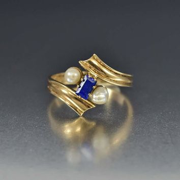 14K Gold Blue Spinel and Pearl Ring